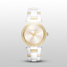 Michael Kors Delray White Acetate 3 Hand Watch